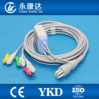 Compatible Colin BP88S, One piece 3Leads 6Pin ECG cable with Clip ,IEC,CE&ISO13485