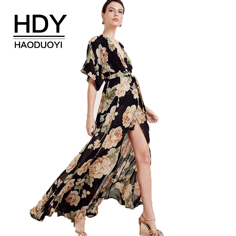 HDY Haoduoyi Fashion Women Dress Apparel Floral Print Midi Dress Sexy Casual Loose Chic A line