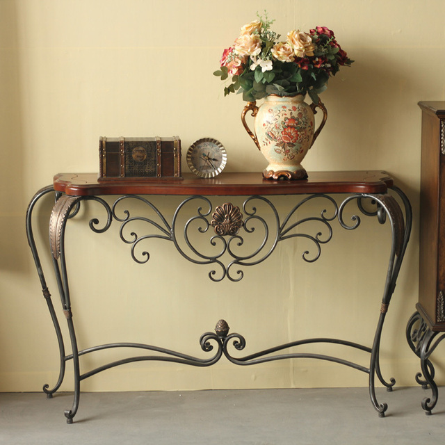 Export European American Living Wood Wrought Iron Entrance Taiwan Console Tables Tables