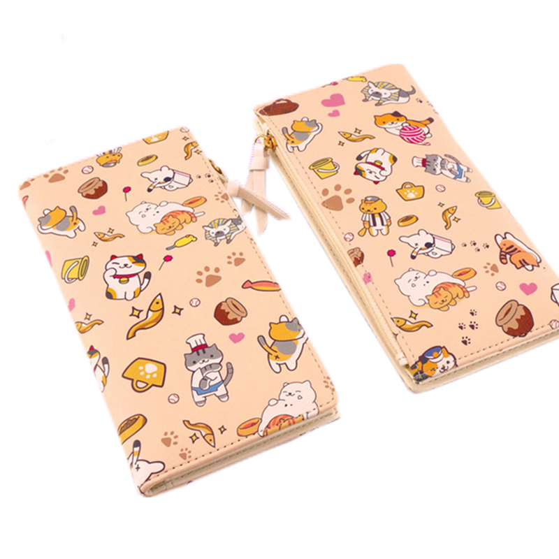 Japanese Anime Natsume's Book of Friends/Neko Atsume Kawaii Cat Women Long Wallets Fashion pU Leather Purse Gift Card Holder kitty cat backyard neko atsume backpack comic periphery dual portable canvas shoulders bag cartoon accessory kids anime gift
