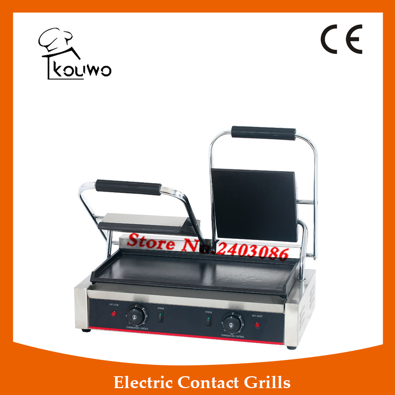 commercial table counter top kitchen equipment Stainless steel non-stick double plate full flat electric panini contact grill commercial non stick electric 220v countertop table top teppanyaki plate panini contact griddle