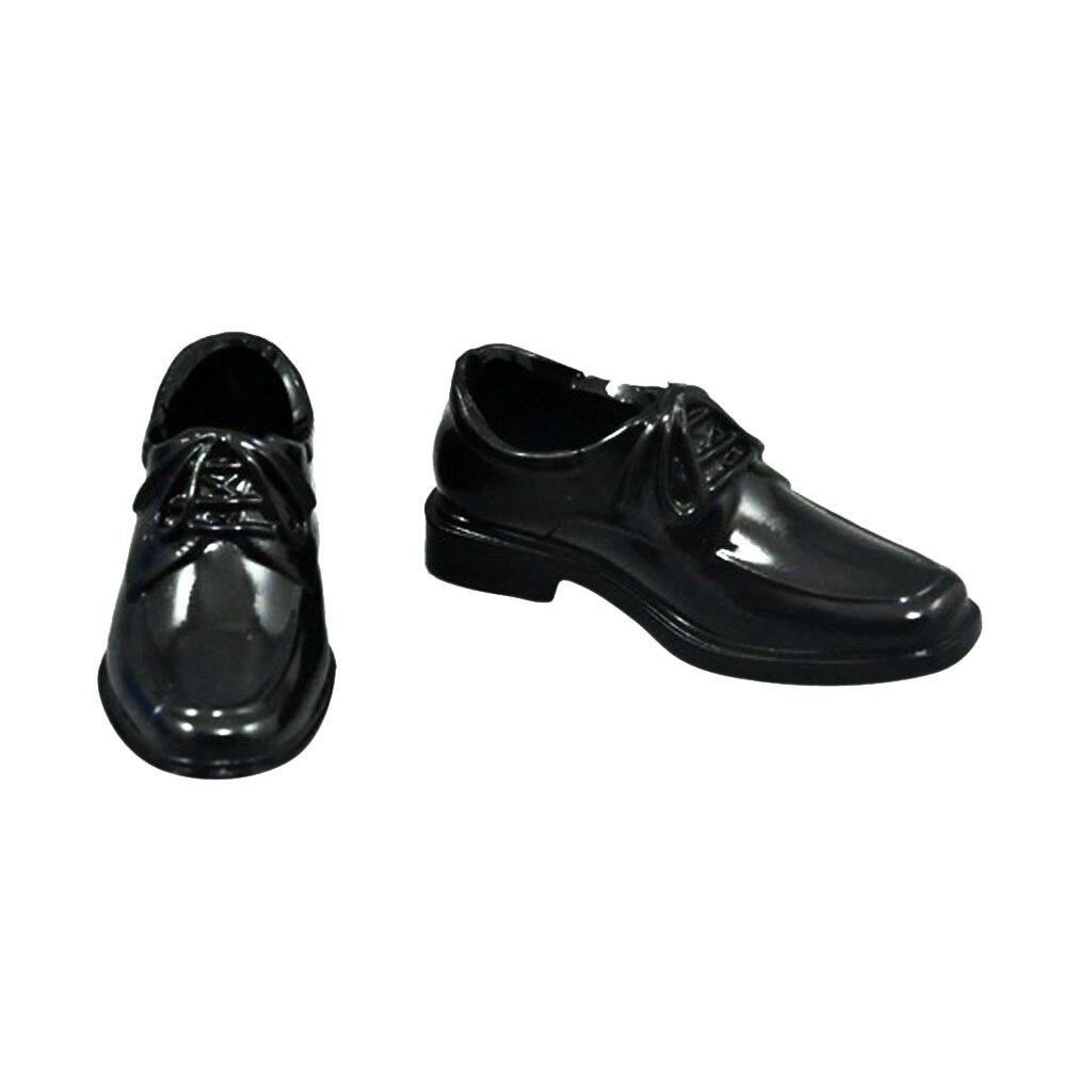 1 Paar Zwart 1/6 Schaal Lace Up Hoge Top Jurk Schoenen Voor 12 Inch Mannelijke Action Figure Body Poppen Dagelijks Dragen Accessoires 5 Cm Bekwame Vervaardiging
