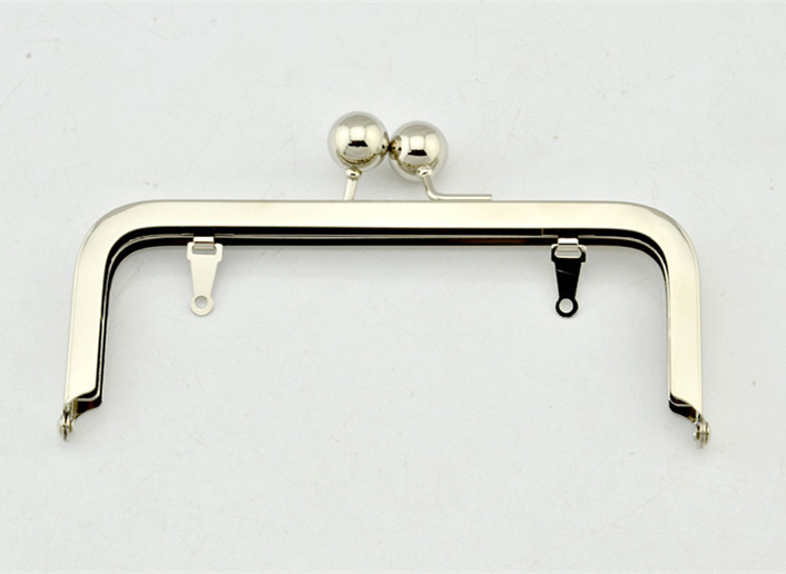15.5CM*6.5CM with two big bead on top Metal Purse Frame Clip silver Big bobble purse frame (with loops) purse making supplies