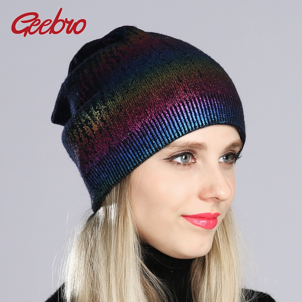 Geebro New Women's Bronzing And Hot Silver Beanies Pompom Hat Spring Wool Knitted Hats Ladies Metal Multicolor Beanie Cap DQ180