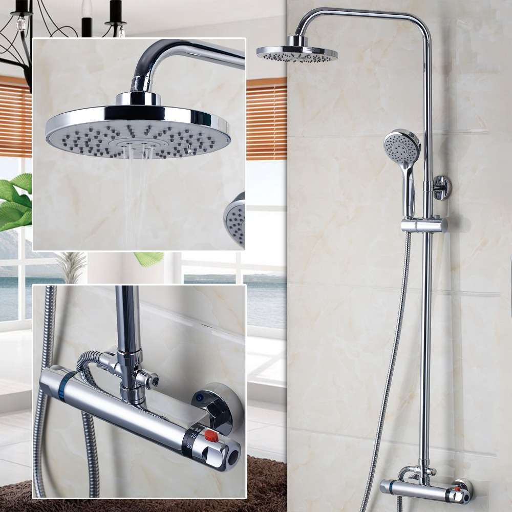 popular modern shower faucetbuy cheap modern shower faucet lots  - luxury modern bathroom faucet chrome polished shower set thermostaticfaucets mixers taps wall mounted rainfall shower