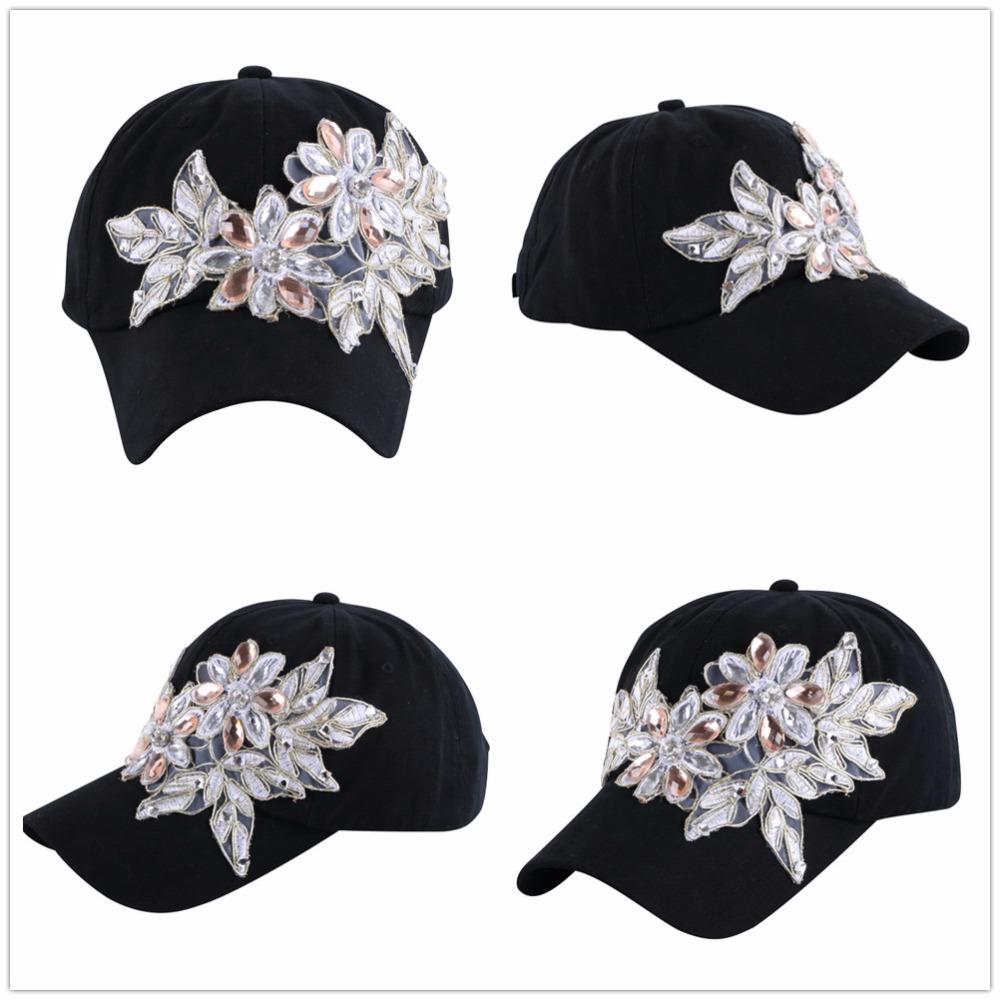 5b2c2747d2410 ... High Quality WOMEN brand baseball cap new fashion rhinestone crystal denim  snapback caps wholesale woman hip ...
