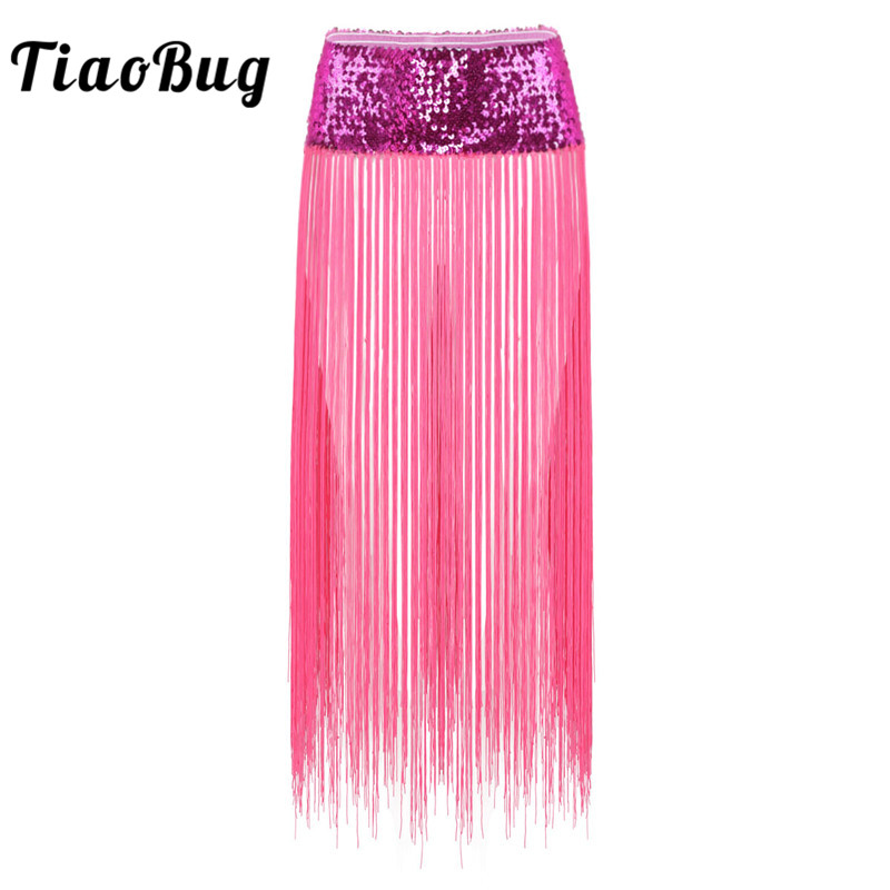 TiaoBug Women Adult Boho Shiny Sequins Hip Scarf Long Tassels Fringe Belly Dance Skirt Club Party Rave Stage Performance Costume