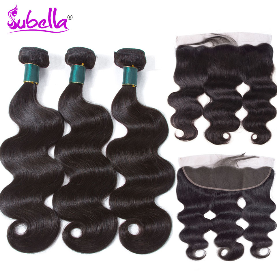 Subella Peruvian Body wave Hair Weave 2 Bundles With Frontal Human Hair Bundle and 13x 4 Lace Frontal Closure with Bundles
