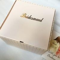 2 pcs lot Custom logo bridal hen party bridesmaid gifts boxes DIY large Paper Folding Square gift box wedding