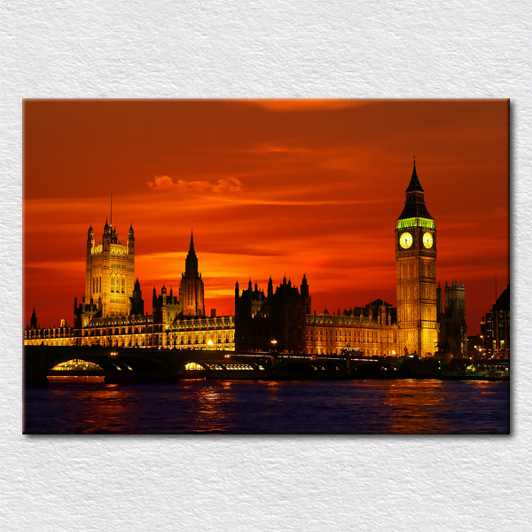Canvas prints fine art paintings of beautiful modern city england light painting from photo of london