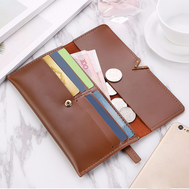 Long V Women Leather Bifold Wallet High Quality Hasp ID Card Holder Billfold Clutch Purse Zip Pocket 2