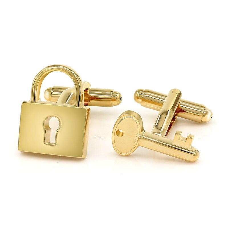 Kemstone запонки с гравировкой пропеллера, позолоченные, посеребренные запонки с замком для вина, стеклянные запонки для мужчин, персонализированные Женихи, мужские подарки - Окраска металла: Key and Lock