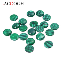 Wholesale 20pcs/lot Dia 4/6/8/10/12/16mm Round Flat back Cabochons Beads Natural Stone Green Malachite for DIY Jewelry Makings