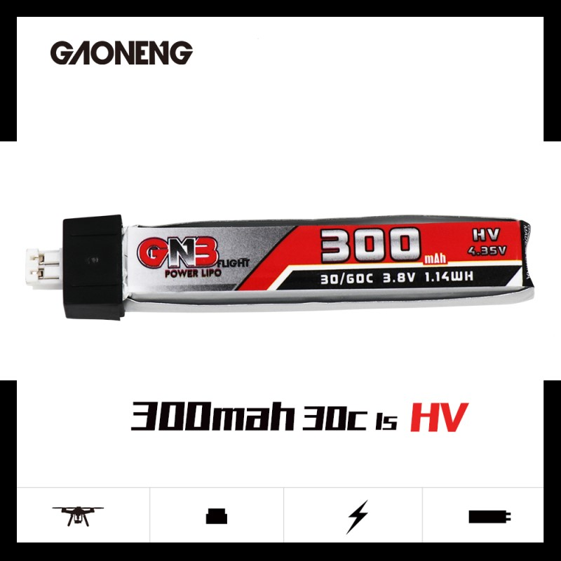 Image 2 - 5PCS GAONENG 300mAh 3.8V 30C/60C LiHV Lipo battery PH2.0 Plug for Eachine UK65 US65 Blade Inductrix BetaFPV 65S URUAV UR65 Drone-in Parts & Accessories from Toys & Hobbies