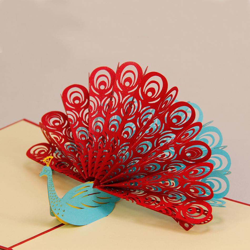 Amazing cool 3d pop up cards custom greeting cards 3d peacock in amazing cool 3d pop up cards custom greeting cards 3d peacock in red for birthday personalised cards free shipping on aliexpress alibaba group bookmarktalkfo Image collections