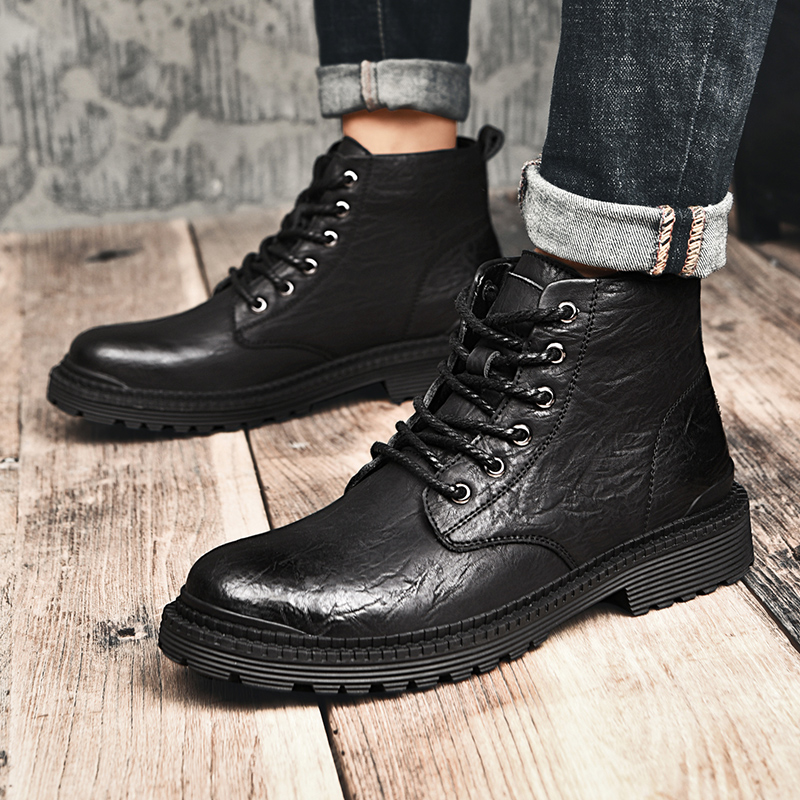 Chaussures Heren Mode Cuero Northmarch grey Fur Schoenen grey De Hiver Bottes Martin Cuir Botas Automne Travail Casual En Fur Hommes Hombre Boot Black black qOwqvFSAx