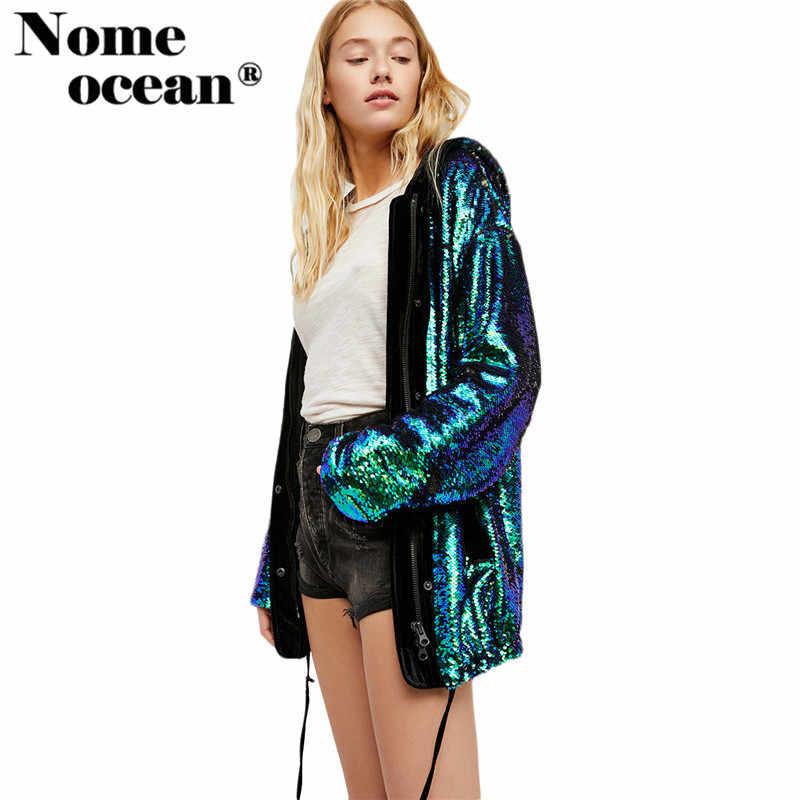 b19d19e4dd8 Full Sequined Women Jackets With A Hood Paillette Beading Shining Sequin  Casual Coats of Girls Zipper