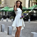 Cosy Sexy Women Sleeveless Slim Bodycon Evening Party Short Mini Dress Orange Blue White 3 Color