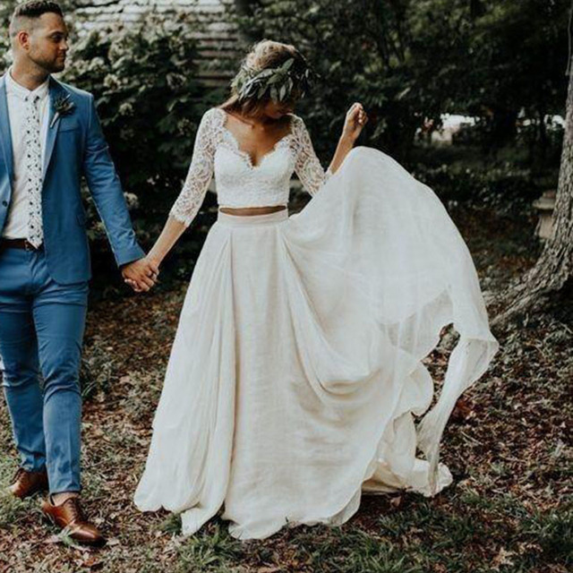 Wedding Dress Long Sleeves A Line White Ivory Chiffon Lace Princess Beach Bride Two Pieces Wedding Gown 2019 New