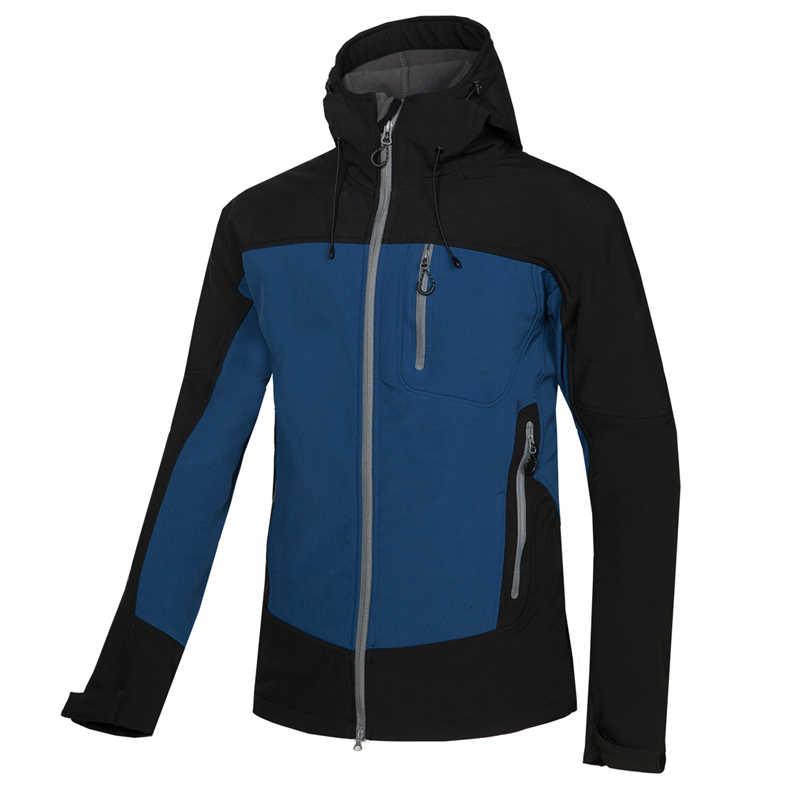 Dostosuj LOGO zima kurtka softshell mężczyźni na zewnątrz sportowa bluza z kapturem wędkarstwo polowanie narciarstwo wodoodporna ciepły polar odzież górska