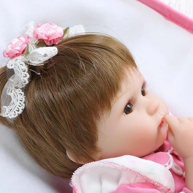 Kan zitten en liegen 17 Inch herboren pasgeboren Bay Doll zachte - Poppen en knuffels - Foto 3