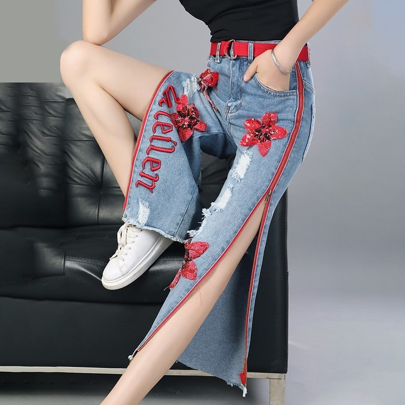 LANMREM 2019 Spring New Fashion Straight Trousers Sequin Embroidery Side Zipper Personal Jeans Ankle Length Wide Leg Pants YF679-in Jeans from Women's Clothing    1
