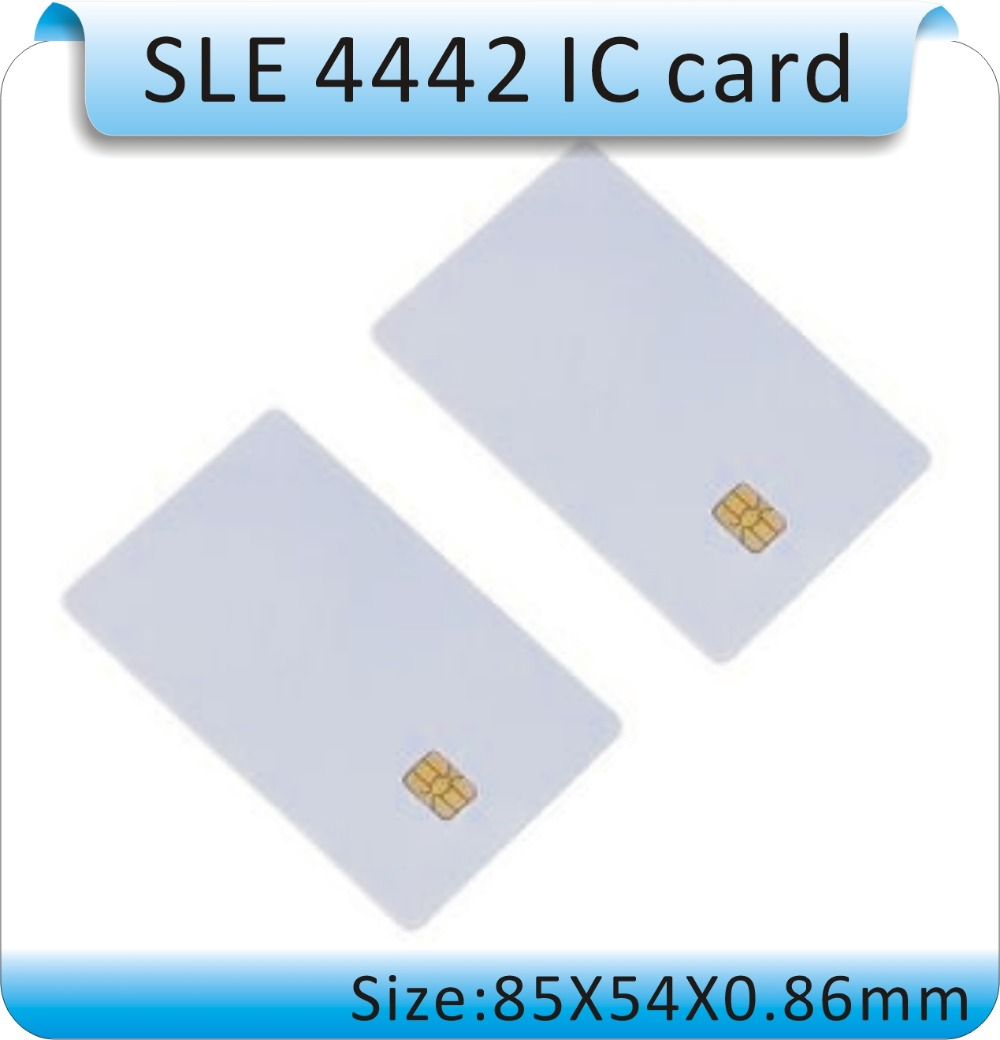 Free shipping 100 pcs Blank PVC SLE-4442 IC card/ISO7816-3 SiM Contact card / SLE4442 smart card 10pcs fm1108 contactless ic card blank white pvc card factory sales m1 card