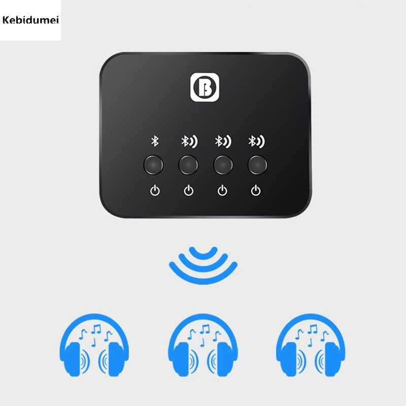Kebidumei Bluetooth v4.1 оптический передатчик Mini 1-3 мульти-пара для ТВ Dual Link Беспроводной музыкальный аудио адаптер для наушников