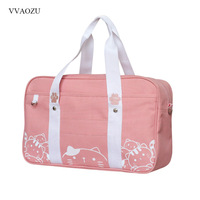 Japansese JK Uniform Handbag Cartoon Cute Cat Baby Whale Student Messenger School Bag Hand Bag for Girls