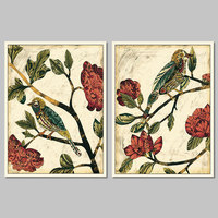 2pcs Set Flowers Patterns Birds Decoration Red Flower Trees Wall Art Picture Canvas Painting Print For