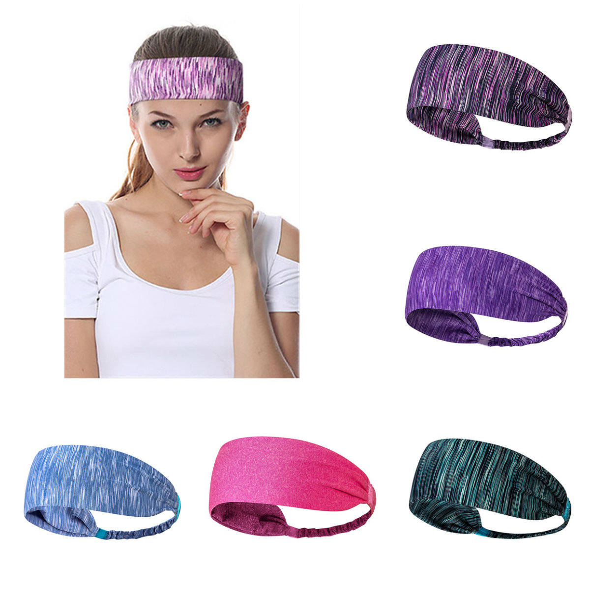 cb00e79403094 Drop Schiff 24 CM Absorbent Sport Schweiß Stirnband Schweißband Für Männer Frauen  Yoga Haar Bands Kopf