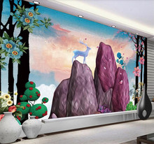 Custom wallpaper creative hand-painted illustration fortune with deer background mural decorative waterproof material