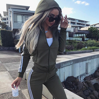 Two Piece Sport Suit Running Set Women Sportswear Hooded Long Sleeve Running Jacket and Pants Lady Workout Sports Jogging Suits