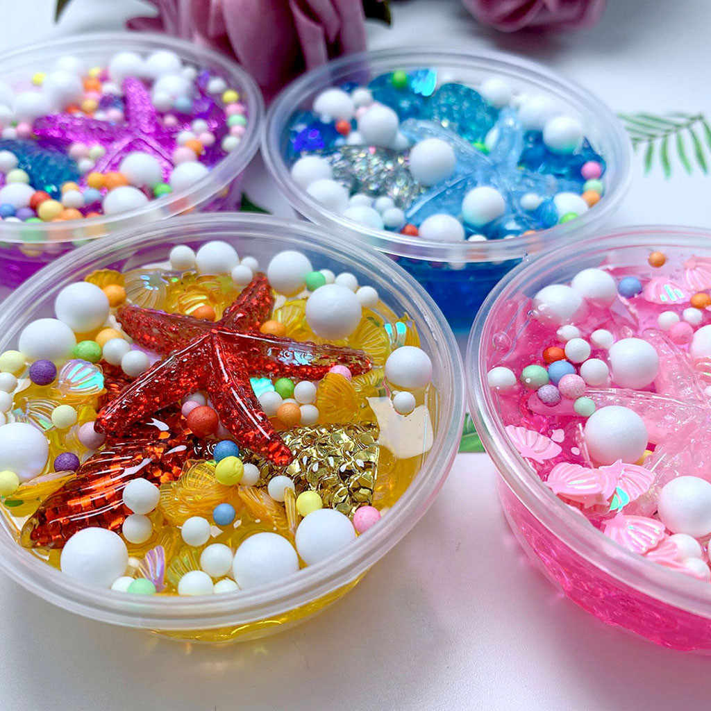 Kids Toy For Boy Girl Best Gift Fluffy Mud Mermaid Tail Charms Fishbowl Mermaid Bubble Bath Slime Toy Gift