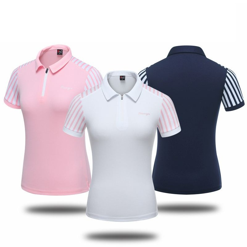 2019 femmes rayé Slim Golf chemise à manches courtes Tennis formation T Shirt confortable dessus respirants Golf Sportswear D0696