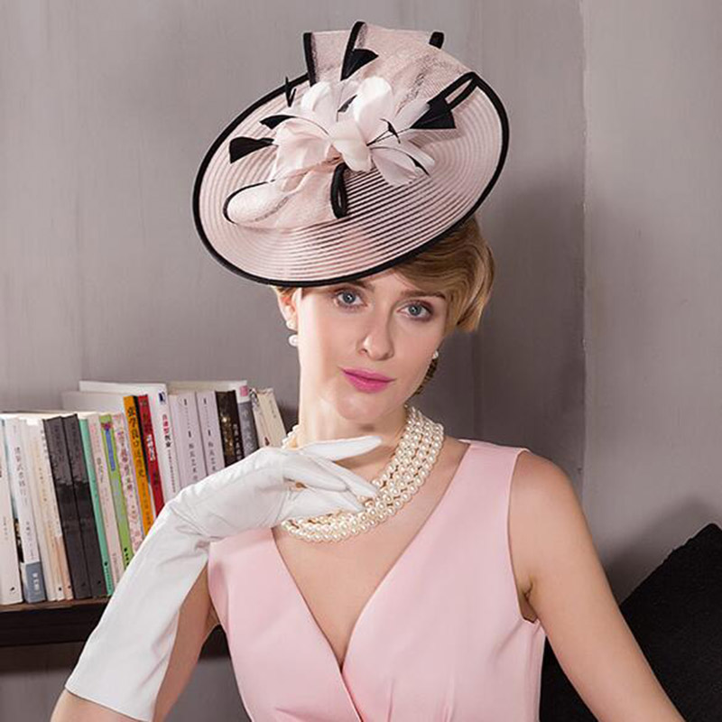 2019 Summer Wedding Hat For Woman Vintage Pink Pillbox Hats Flowers Feather Wedding Hat With Bowknot Banquet Church Fascinator