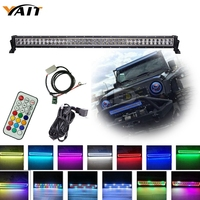 240w 42inch Chasing RGB Halo Led light bar 10 Solid Color Changing with Strobe Flashing Spot Flood Combo Beam IP67 Waterproof