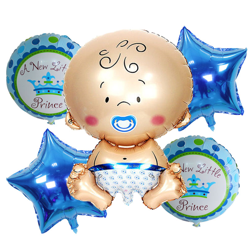 5pcs Lot Baby Shower Foil Balloons Birthday Party Decorations Air Balls Girl Boy Helium Balloon Supplies
