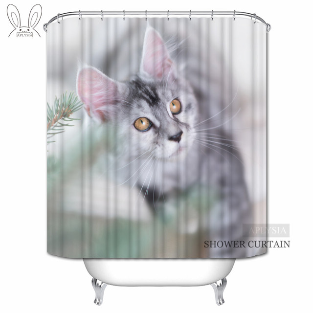 Aplysia Cartoon Gaze Cat Shower Curtains Funny Animal Custom Waterproof Fabric Bathroom For Home Decors