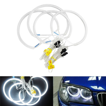 ANGRONG HALO RING CCFL Angle Eye Kit Projector 7000K White Light Lamp 4x131mm For BMW E36 E39 E46 E38 image