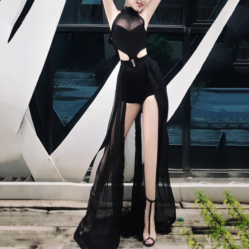 Black Stage Costume For Singers Sexy Pole Dance Performance Clothing Women Nightclub Rave Clothes Ds Wear Gogo Bodysuit DC2023