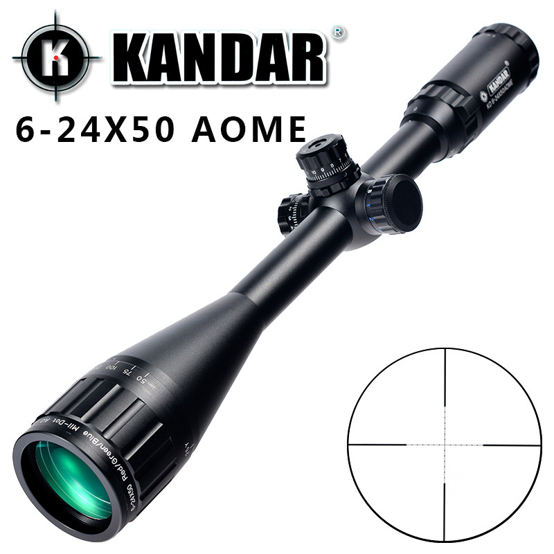 KANDAR 6 24x50 AOME Mil dot Reticle RifleScope Locking Resetting Full Size Hunting Rifle Scope Tactical