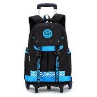 New 6 wheels Chidren's Backpack Fashion waterproof School Bag Trolley Backpacks For Children Thick Mesh Shoulder Strap Kids Bags