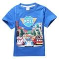Verão fresco de Manga Curta Infantis meninos Meninas T Camisa Dos Desenhos Animados New Bonito Robocar poli T-shirt Dos Meninos Do Bebê Crianças Roupa Tops Tees