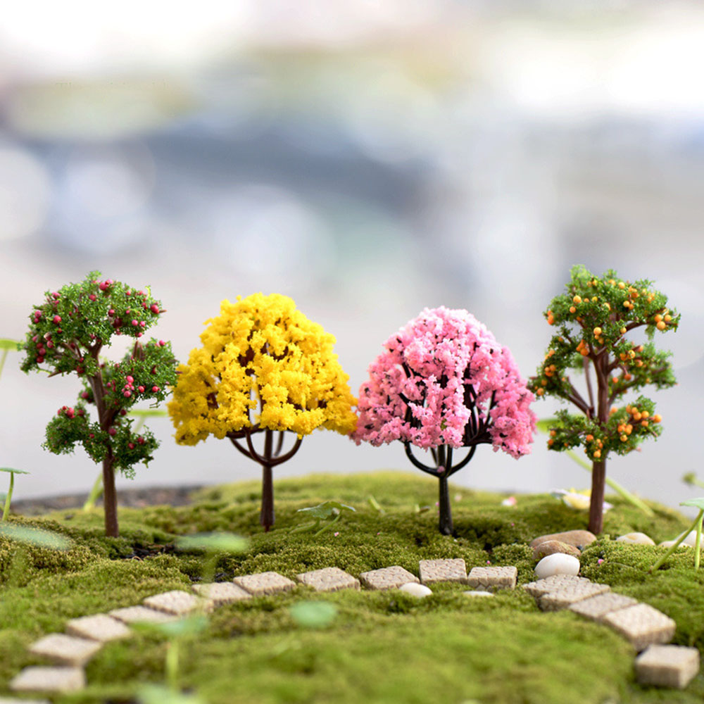 2pcs Dollhouse Garden Micro Landscape Mini Bush Trees Green Sand table model FF