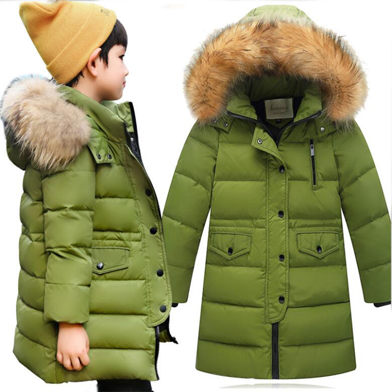 Long Hooded Down Jackets For Girls Boys Little Teenage Boys Girls Coats And Jackets 2017 Winter Clothing For Girls Boy Clothes 2017 winter down jackets for boys