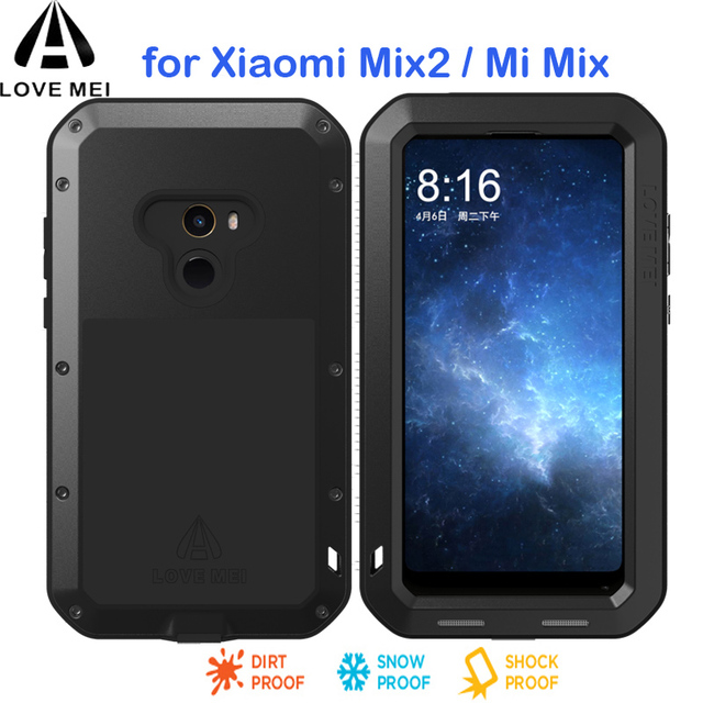 new concept a5074 46055 US $28.0 11% OFF|MIX 2 LOVEMEI Life Waterproof Metal Case for Xiaomi Mi Mix  Metal Armor Shockproof Case For Xiaomi Mi MIX 2 Cover +tempered glass-in ...
