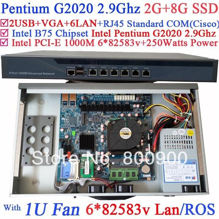 B75 network router monitoring system with Intel Pentium G2020 2.9Ghz 6*1000M 82583v Lan Wayos PFSense ROS support 2G RAM 8G SSD