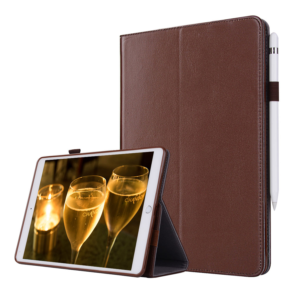 For iPad Pro 10.5 Smart Tablet Case Cover Luxury Genuine Leather Folding Stand Case + Hand Strap + Card Slots + Pencil Holder for ipad pro 12 9 2017 2015 smart tablet case cover high quality genuine leather pu folding stand case card slots pencil holder