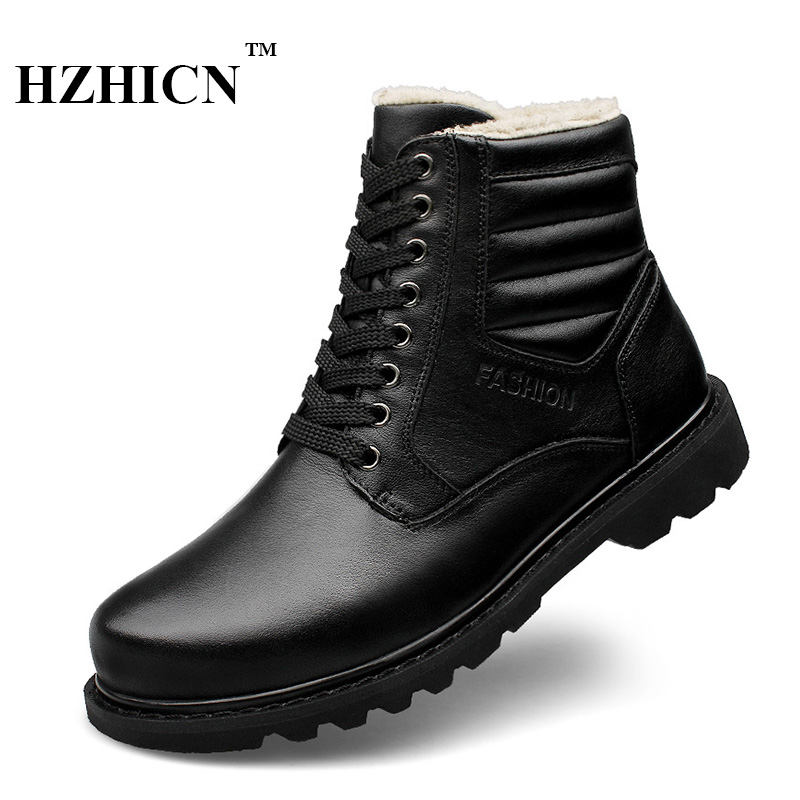 Men Genuine Leather Snow Boots Winter Short Plush Martin Boots High Quality Fashion Shoes Big Size Luxury Brand Boots Hot Sale цены